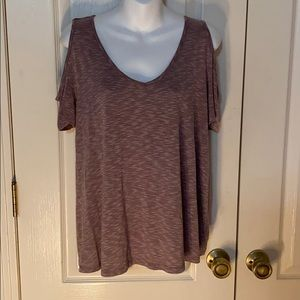 SO open shoulder t shirt purple and white